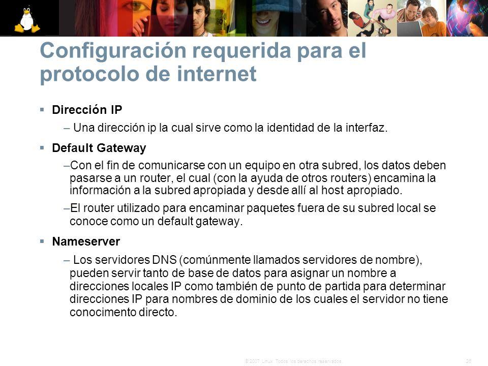 Configuración requerida para el protocolo de internet