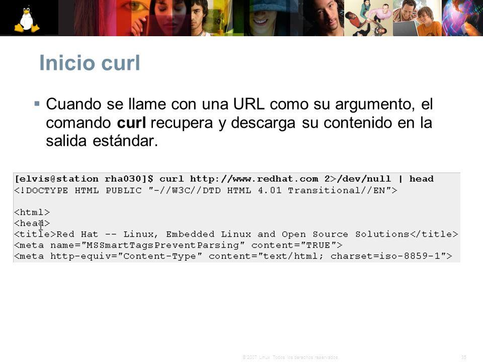 Inicio curl Cuando se llame con una URL como su argumento, el comando curl recupera y descarga su contenido en la salida estándar.