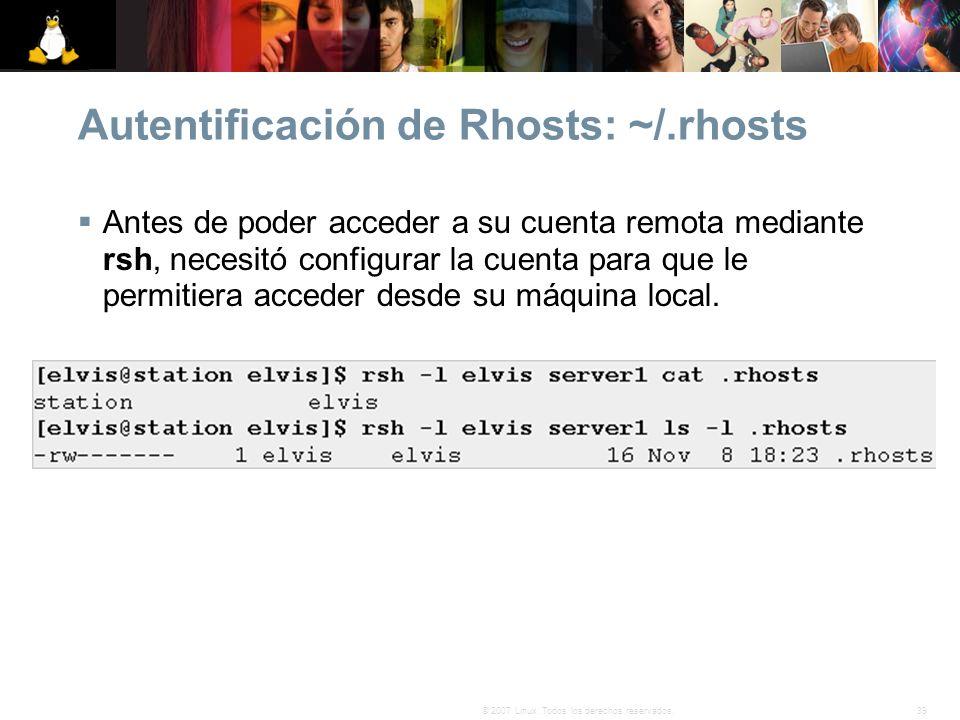 Autentificación de Rhosts: ~/.rhosts