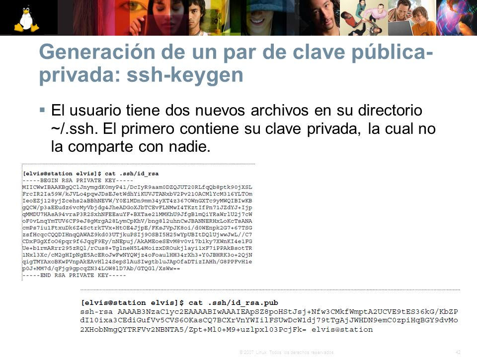 Generación de un par de clave pública-privada: ssh-keygen