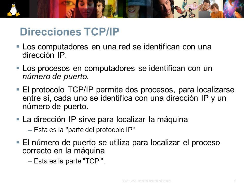 Direcciones TCP/IP Los computadores en una red se identifican con una dirección IP.