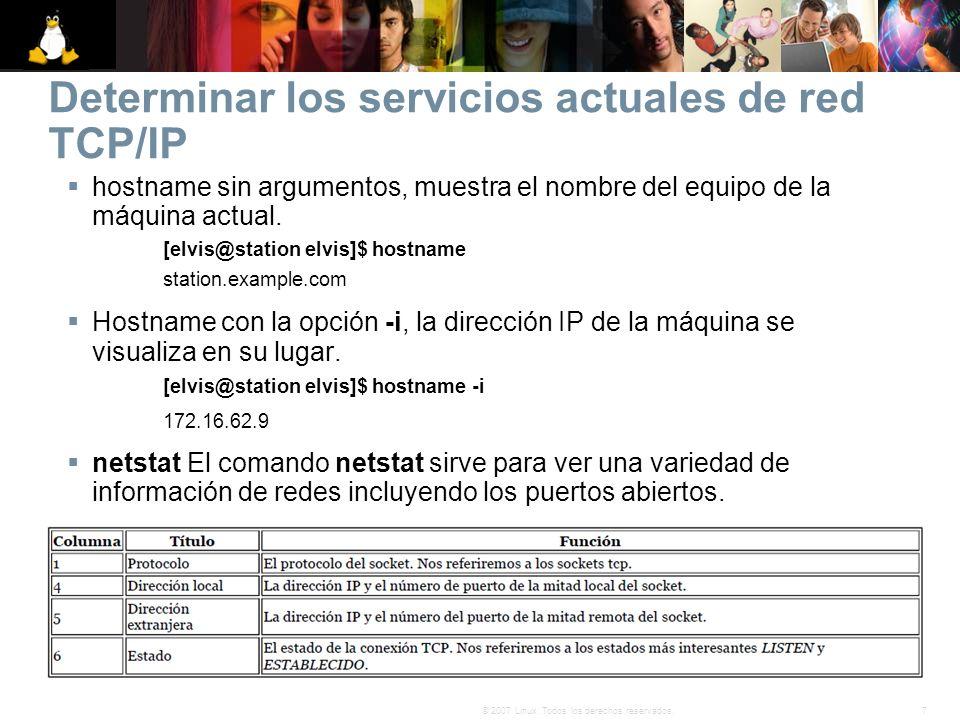 Determinar los servicios actuales de red TCP/IP