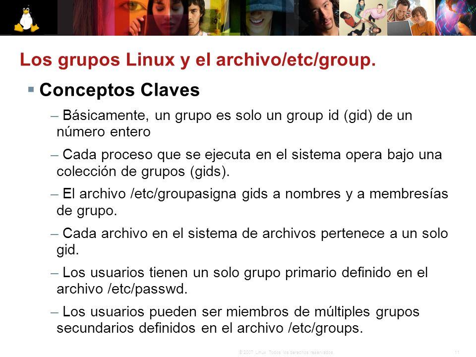 Los grupos Linux y el archivo/etc/group.