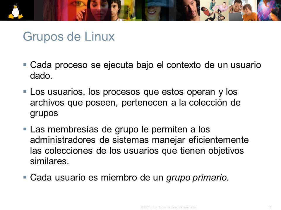 Grupos de Linux Cada proceso se ejecuta bajo el contexto de un usuario dado.