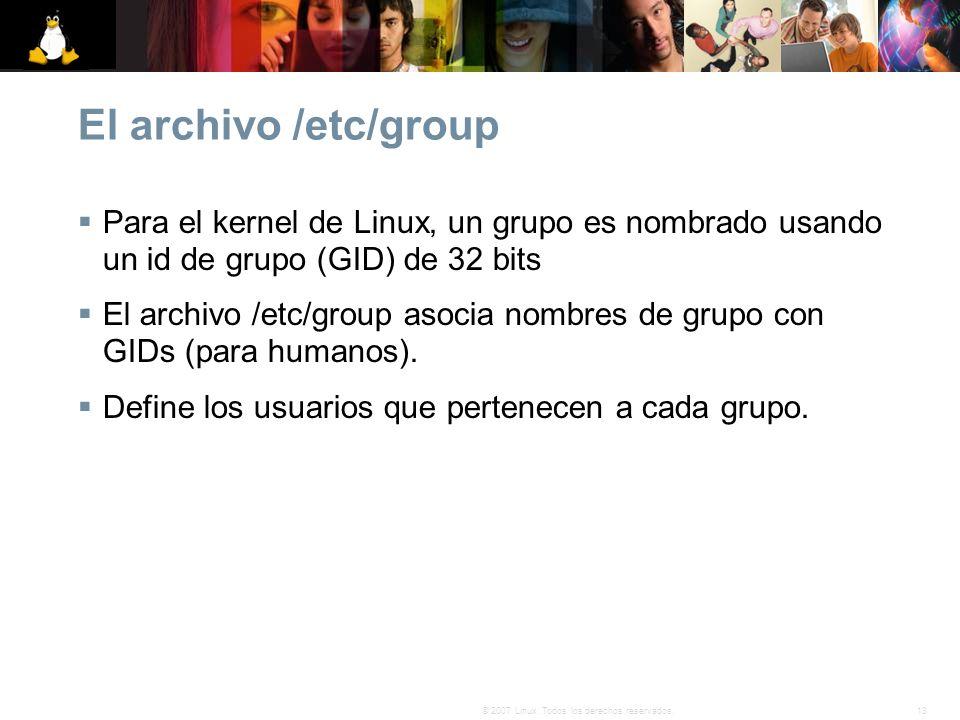 El archivo /etc/group Para el kernel de Linux, un grupo es nombrado usando un id de grupo (GID) de 32 bits.