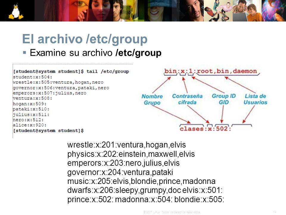 El archivo /etc/group Examine su archivo /etc/group