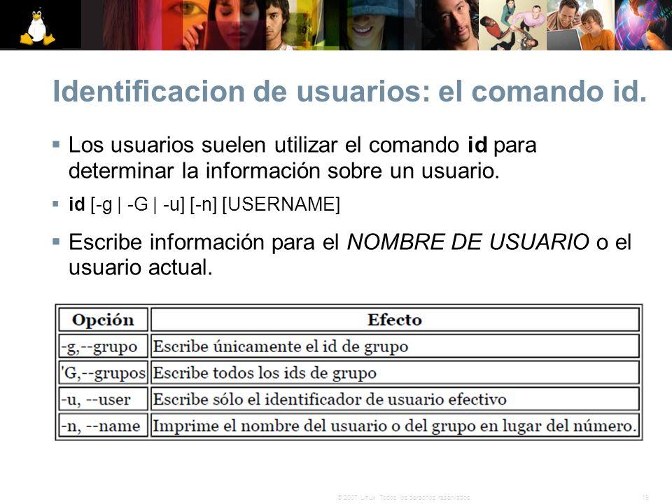 Identificacion de usuarios: el comando id.