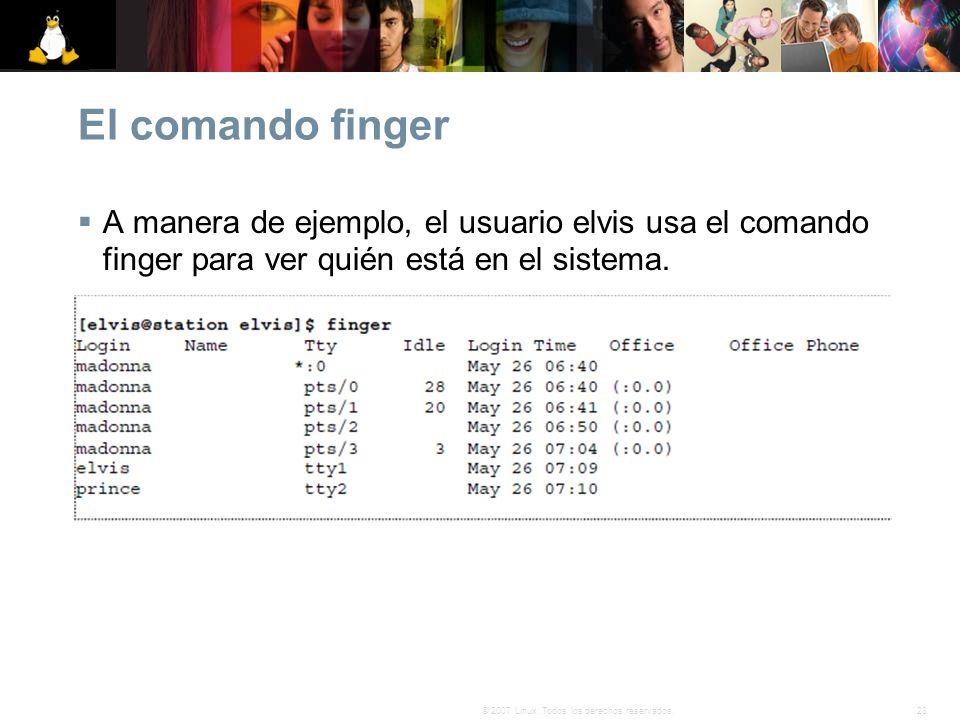 El comando finger A manera de ejemplo, el usuario elvis usa el comando finger para ver quién está en el sistema.