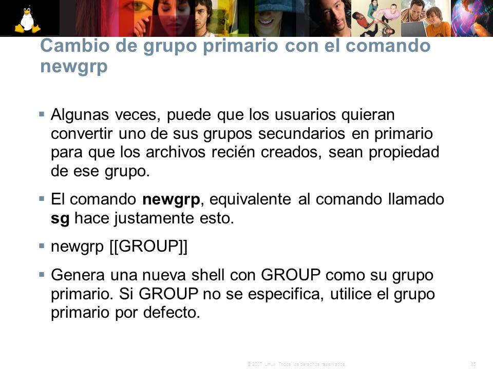 Cambio de grupo primario con el comando newgrp