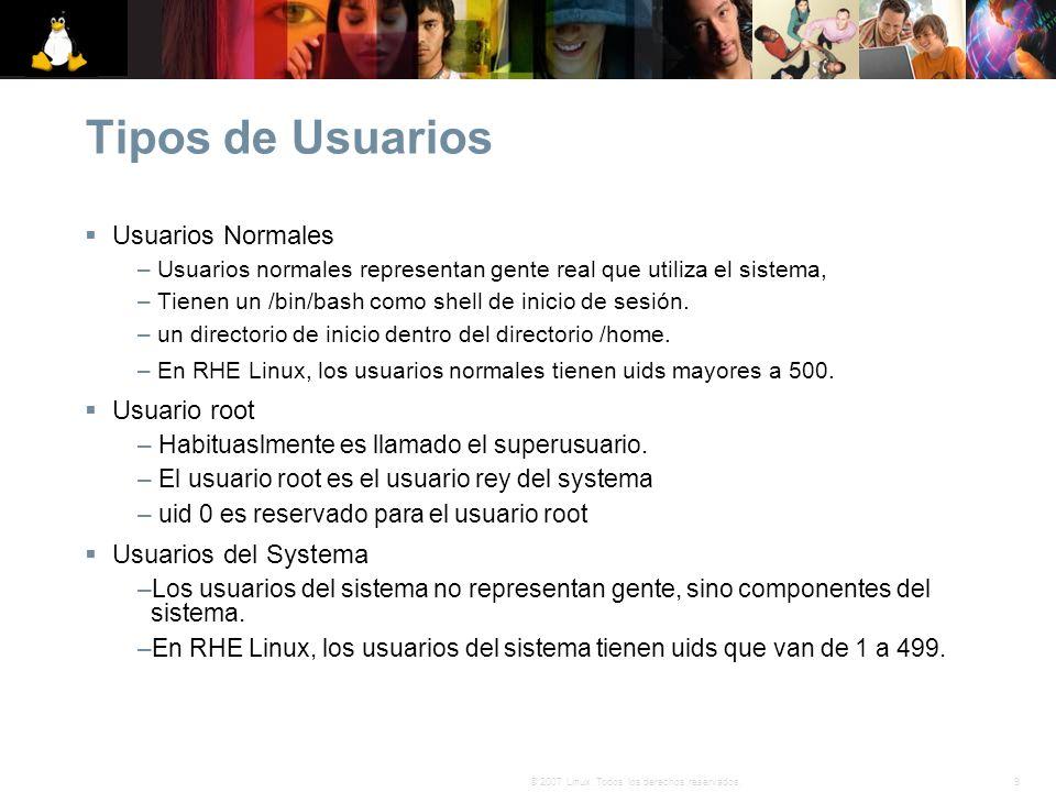 Tipos de Usuarios Usuarios Normales Usuario root Usuarios del Systema