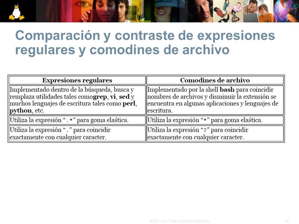 Comparación y contraste de expresiones regulares y comodines de archivo