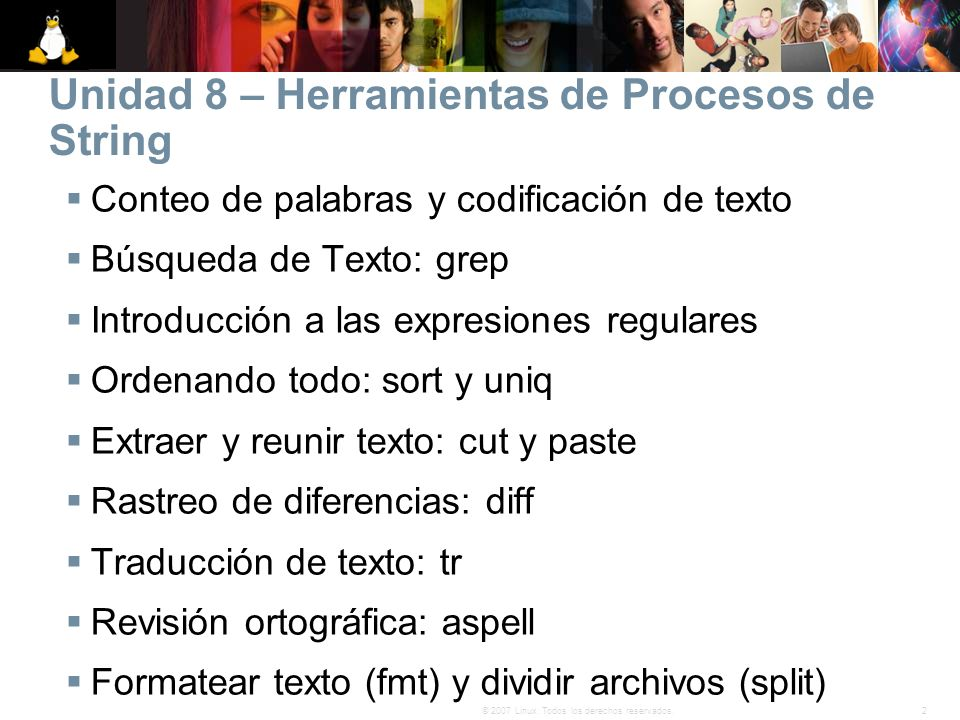 Unidad 8 – Herramientas de Procesos de String