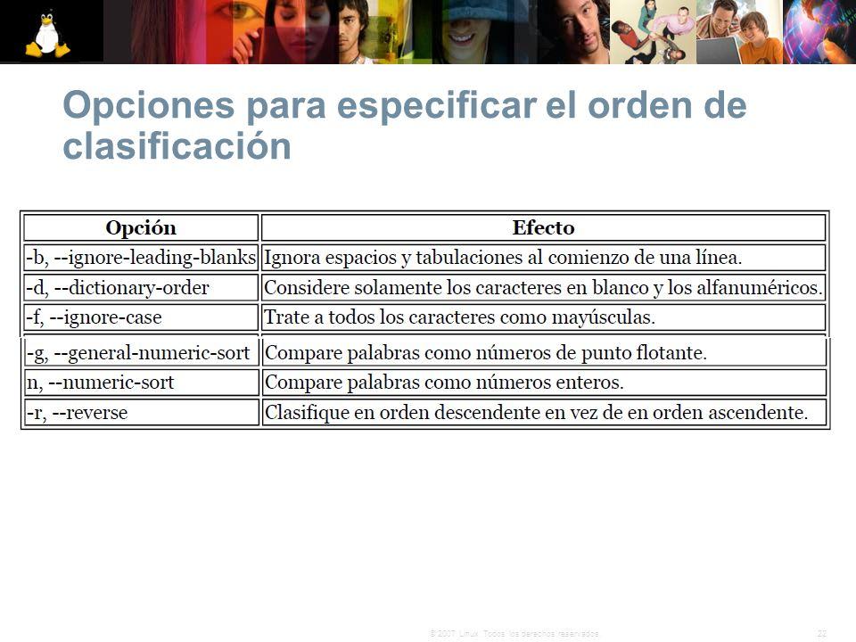 Opciones para especificar el orden de clasificación