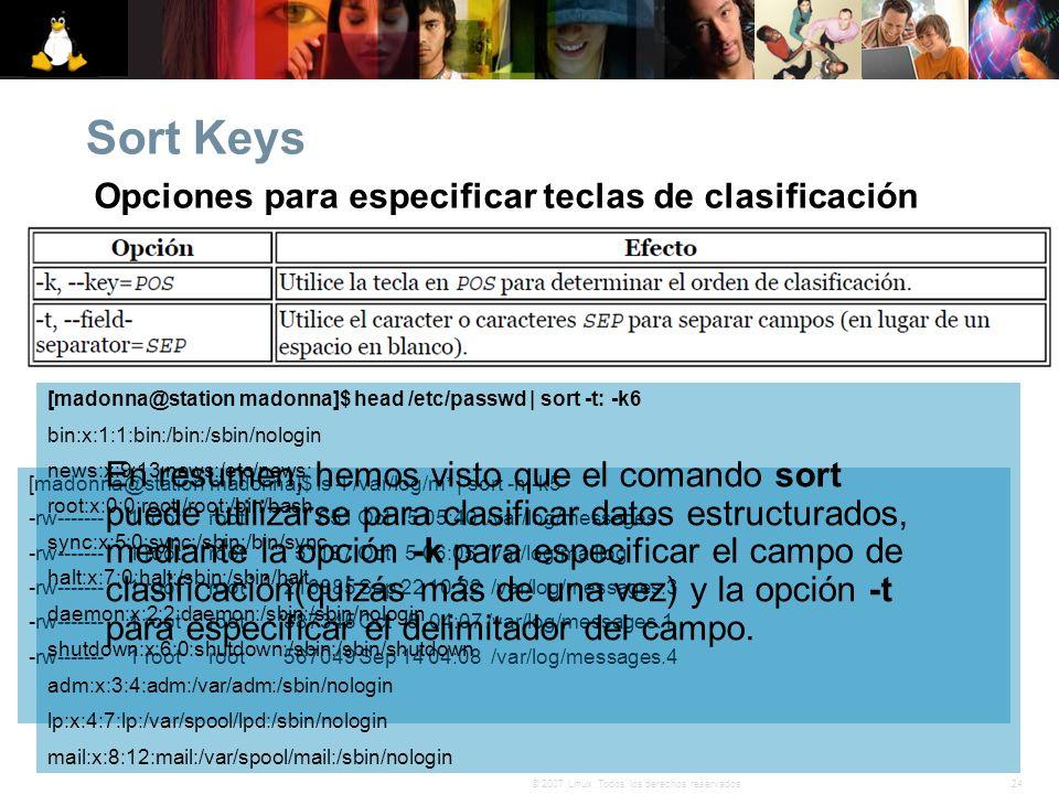 Opciones para especificar teclas de clasificación