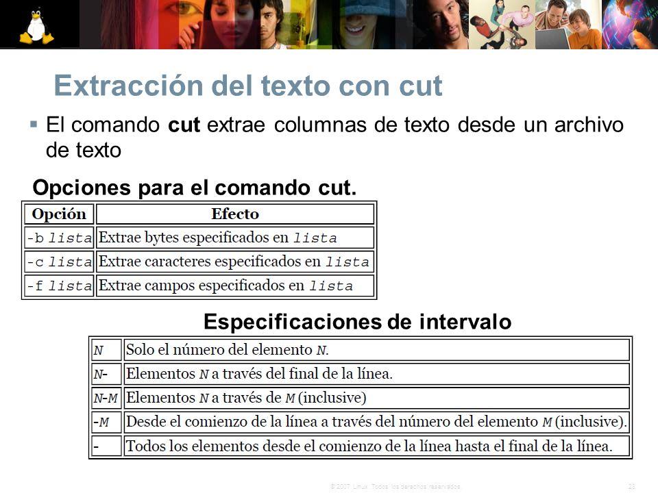 Extracción del texto con cut