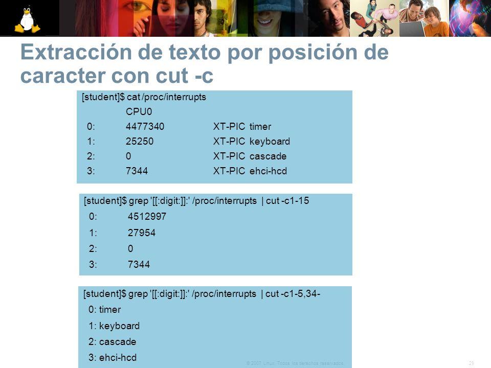 Extracción de texto por posición de caracter con cut -c