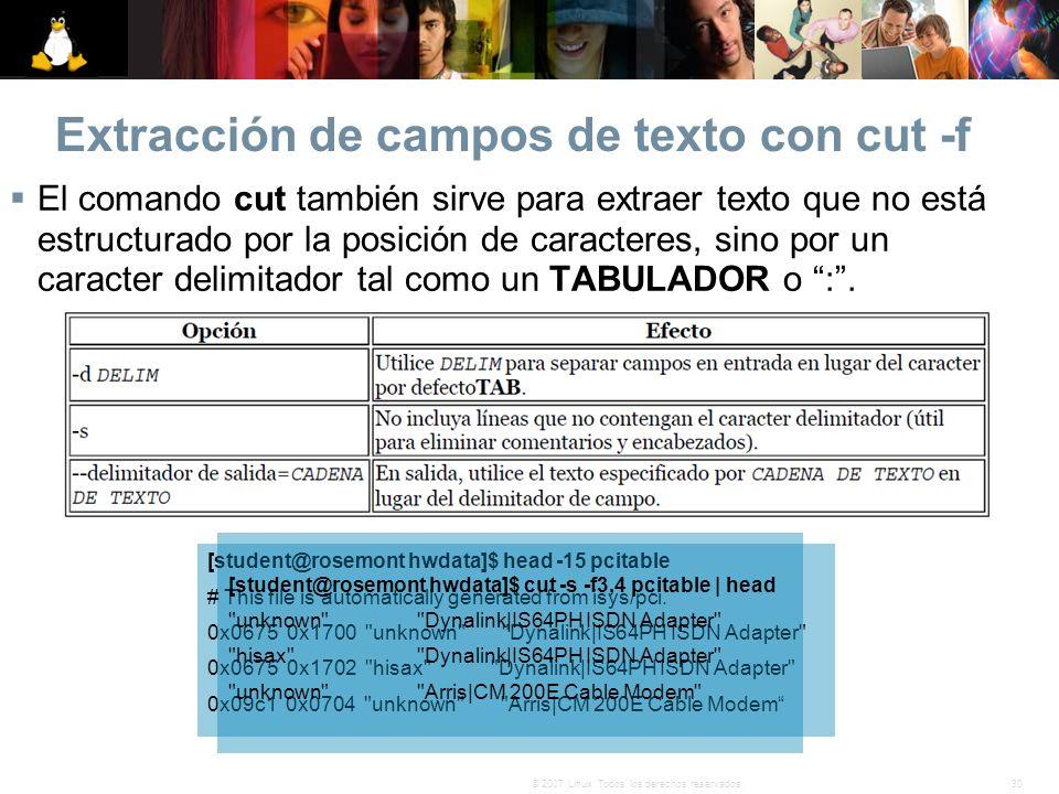 Extracción de campos de texto con cut -f