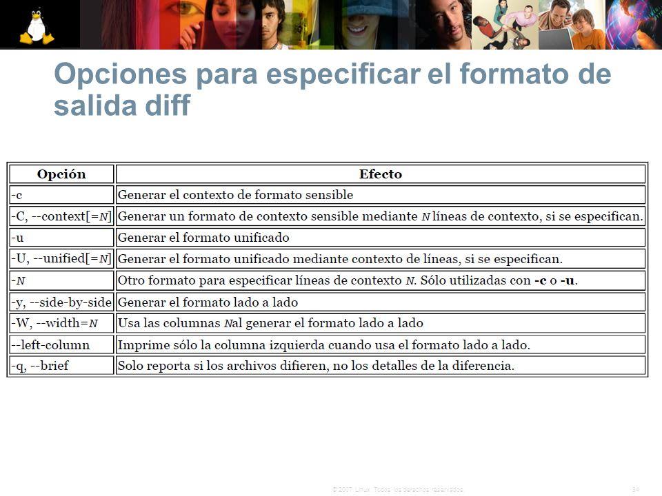 Opciones para especificar el formato de salida diff