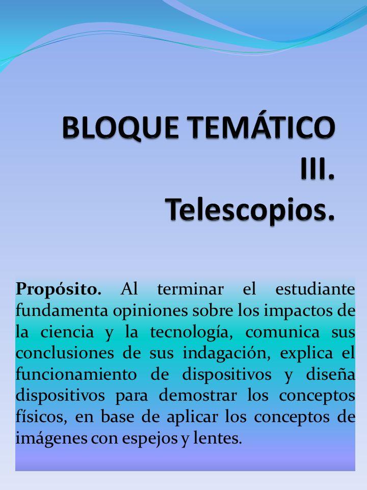 BLOQUE TEMÁTICO III. Telescopios.