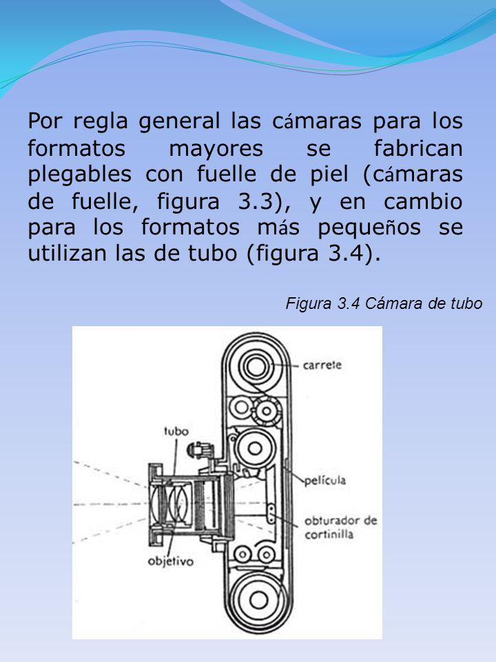Por regla general las cámaras para los formatos mayores se fabrican plegables con fuelle de piel (cámaras de fuelle, figura 3.3), y en cambio para los formatos más pequeños se utilizan las de tubo (figura 3.4).