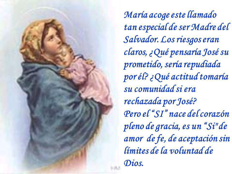 María acoge este llamado tan especial de ser Madre del Salvador