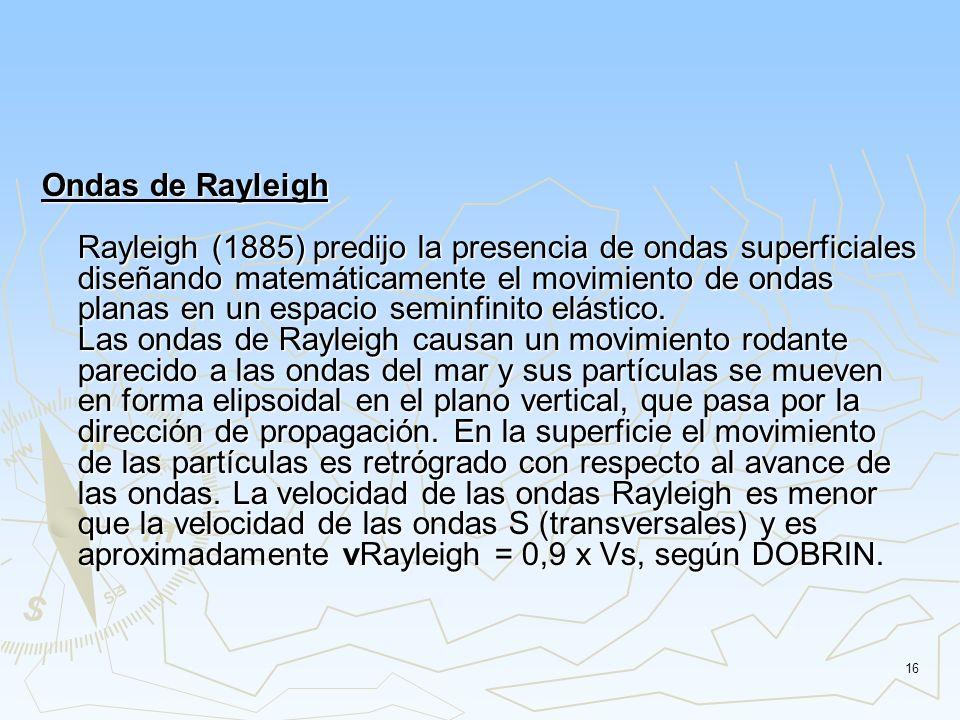 Ondas de Rayleigh Rayleigh (1885) predijo la presencia de ondas superficiales diseñando matemáticamente el movimiento de ondas planas en un espacio seminfinito elástico.