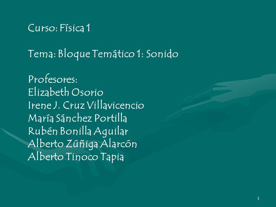 Curso: Física 1 Tema: Bloque Temático 1: Sonido. Profesores: Elizabeth Osorio. Irene J. Cruz Villavicencio.