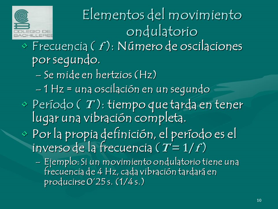 Elementos del movimiento ondulatorio