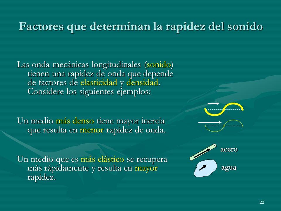 Factores que determinan la rapidez del sonido