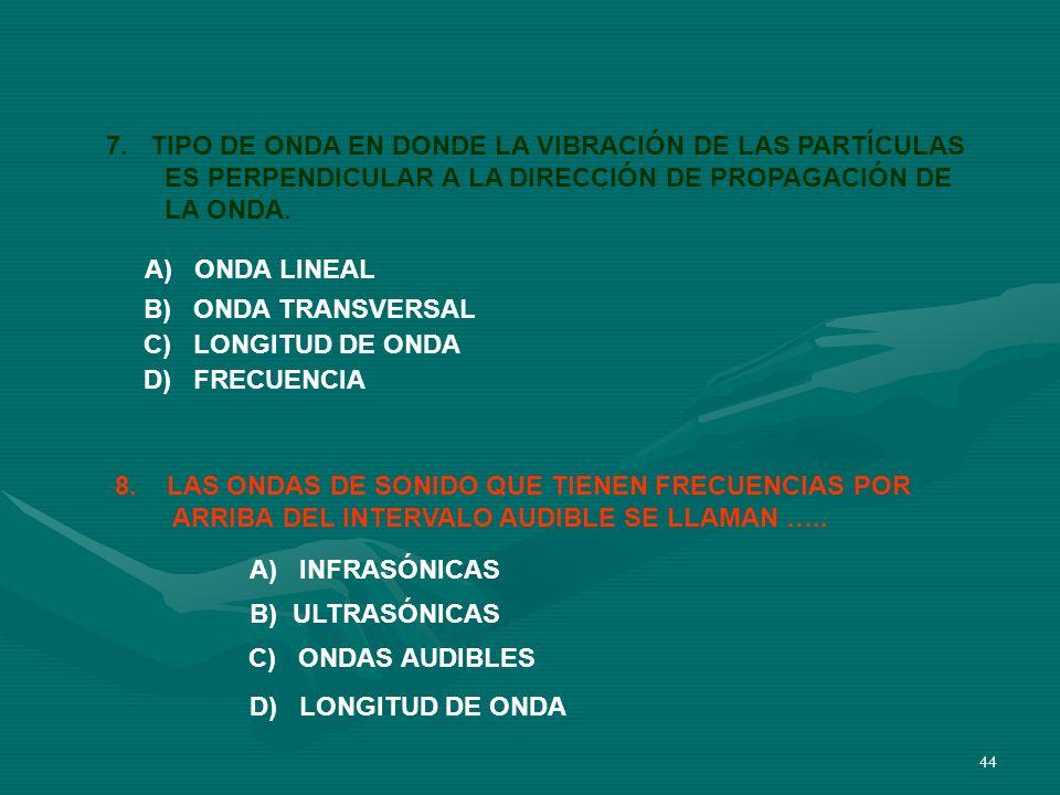 7. TIPO DE ONDA EN DONDE LA VIBRACIÓN DE LAS PARTÍCULAS