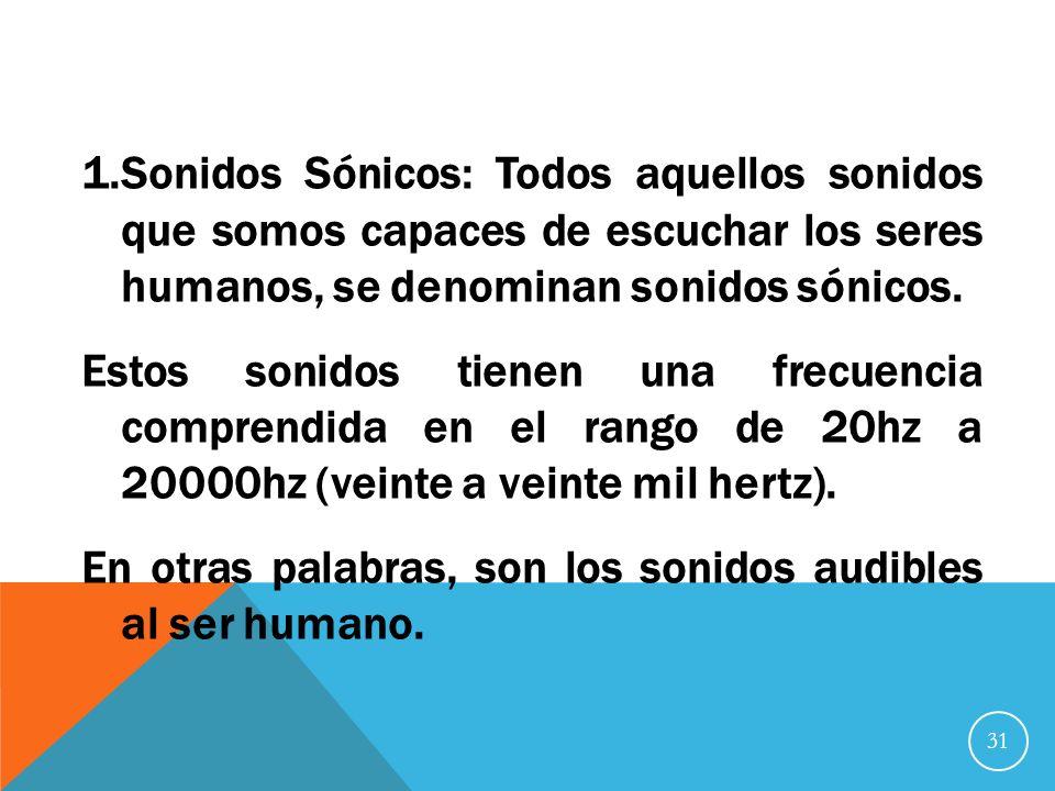 Sonidos Sónicos: Todos aquellos sonidos que somos capaces de escuchar los seres humanos, se denominan sonidos sónicos.