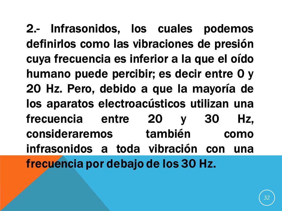 2.- Infrasonidos, los cuales podemos definirlos como las vibraciones de presión cuya frecuencia es inferior a la que el oído humano puede percibir; es decir entre 0 y 20 Hz.