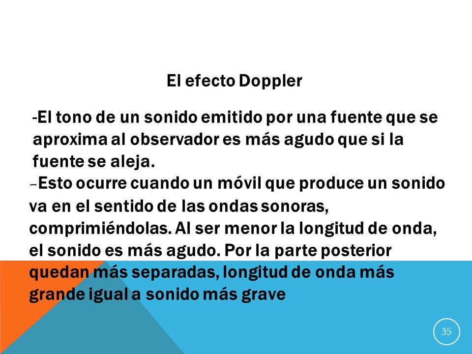 El efecto DopplerEl tono de un sonido emitido por una fuente que se aproxima al observador es más agudo que si la fuente se aleja.