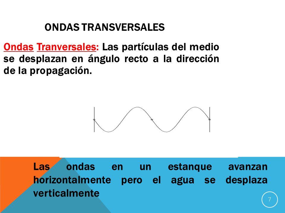 Ondas Transversales Ondas Tranversales: Las partículas del medio se desplazan en ángulo recto a la dirección de la propagación.