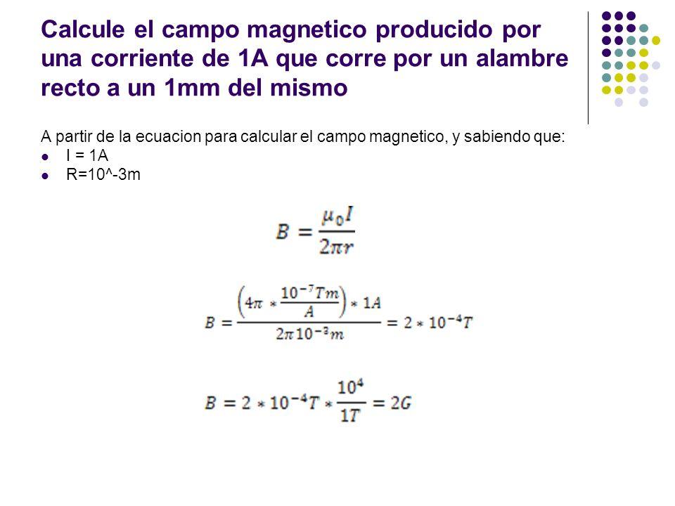 Calcule el campo magnetico producido por una corriente de 1A que corre por un alambre recto a un 1mm del mismo