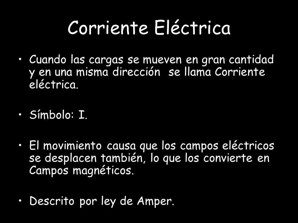 Corriente Eléctrica Cuando las cargas se mueven en gran cantidad y en una misma dirección se llama Corriente eléctrica.