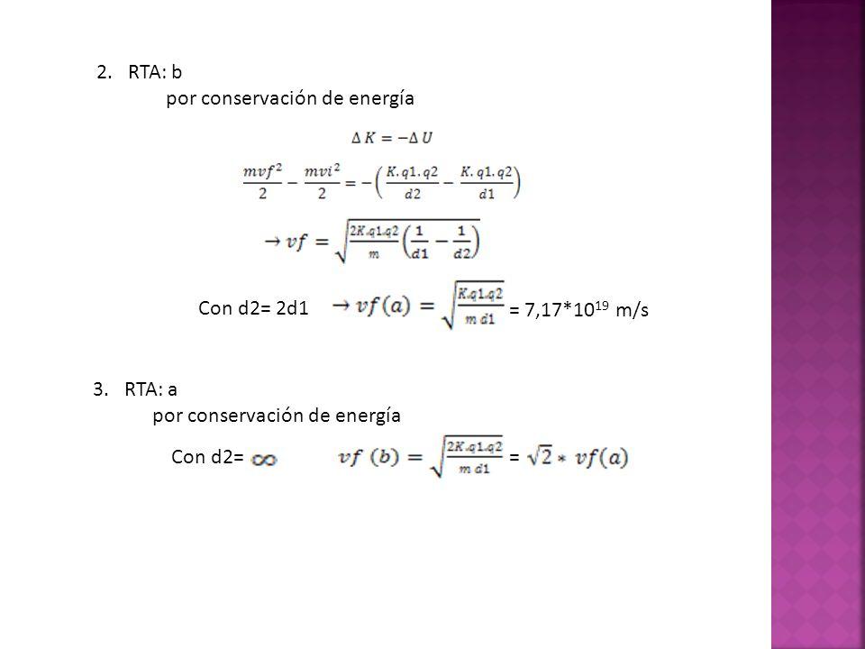 2. RTA: bpor conservación de energía. = 7,17*1019 m/s. Con d2= 2d1. 3. RTA: a. por conservación de energía.