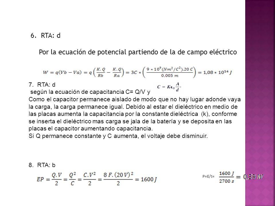 Por la ecuación de potencial partiendo de la de campo eléctrico
