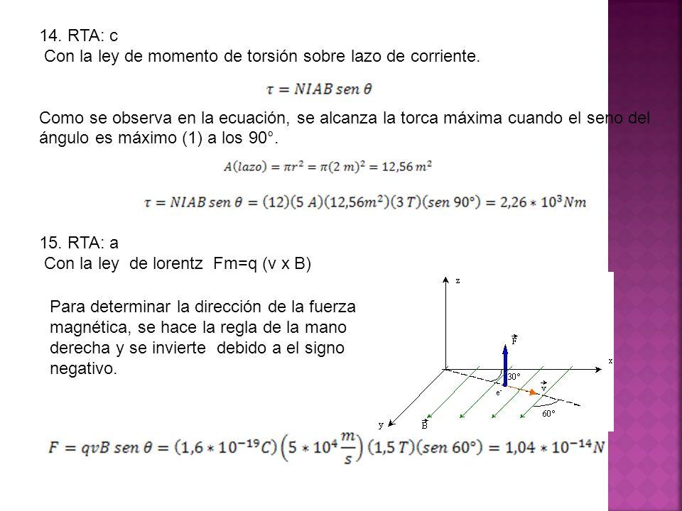 14. RTA: c Con la ley de momento de torsión sobre lazo de corriente.
