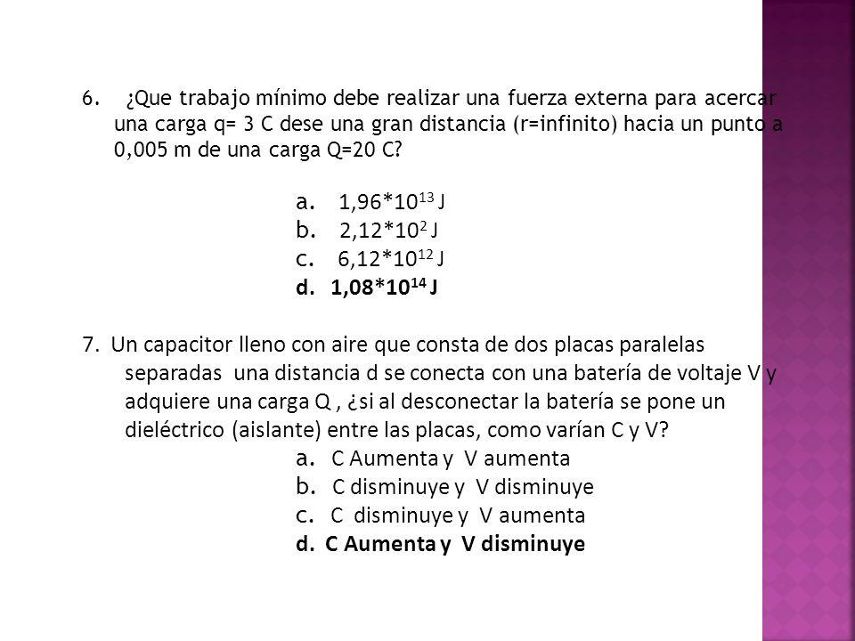 b. C disminuye y V disminuye c. C disminuye y V aumenta