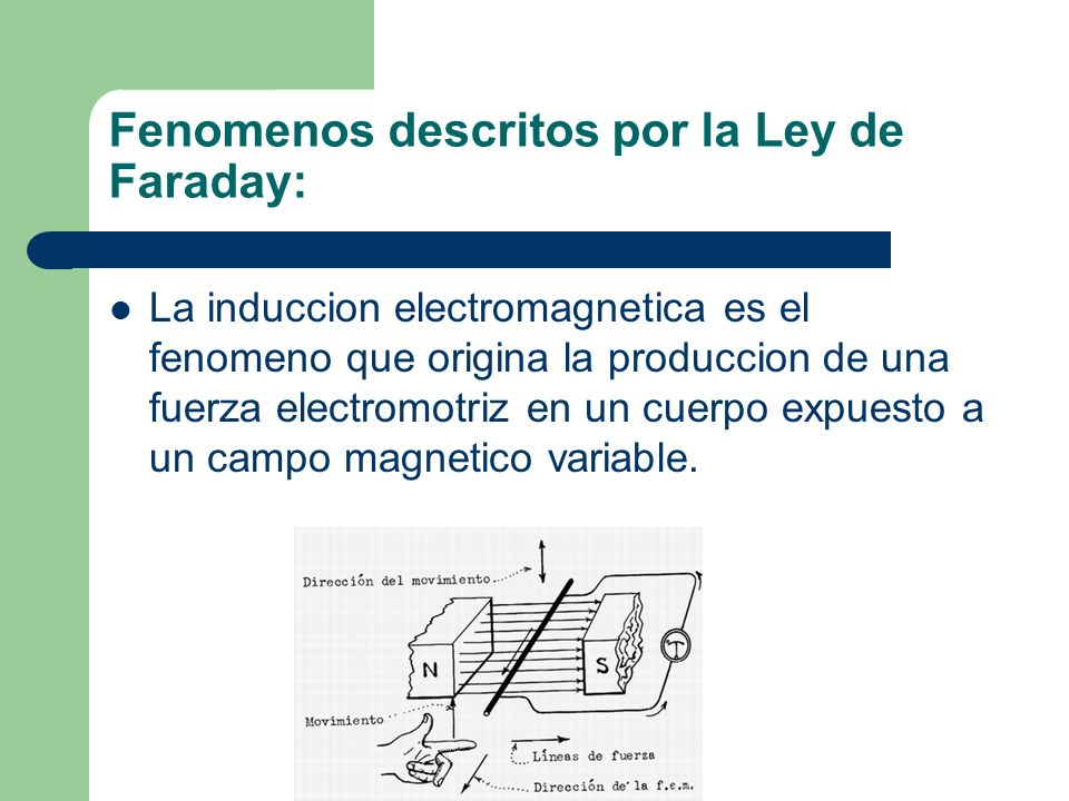 Fenomenos descritos por la Ley de Faraday: