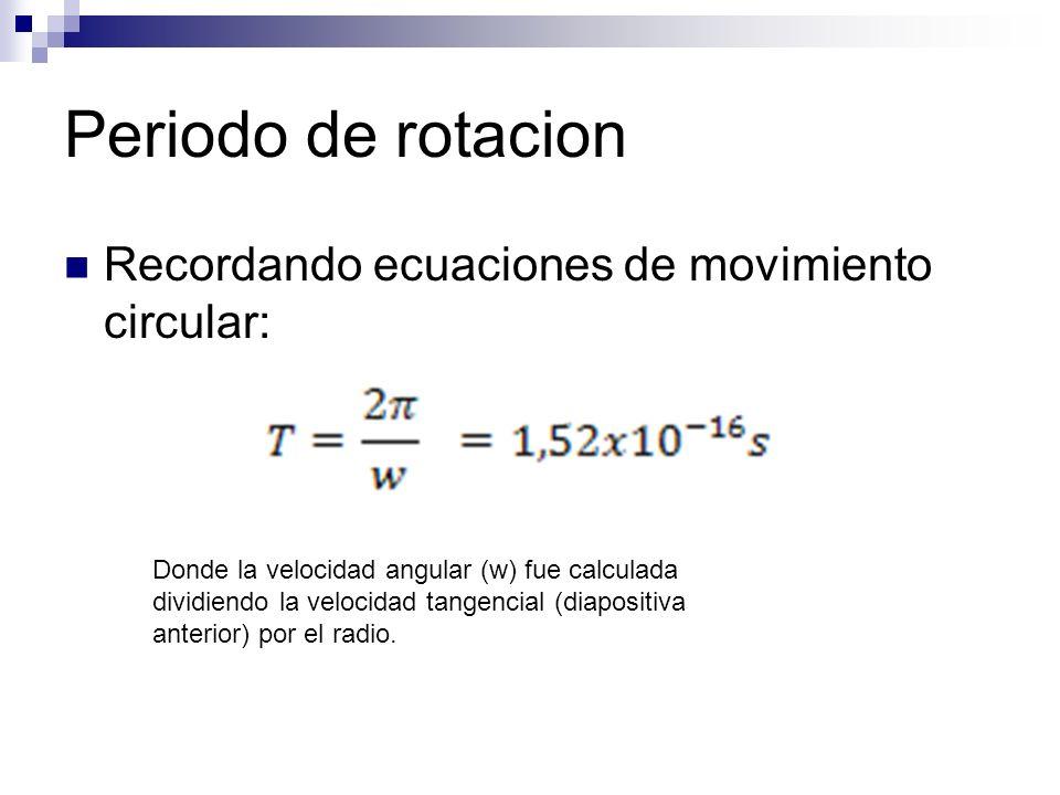 Periodo de rotacion Recordando ecuaciones de movimiento circular: