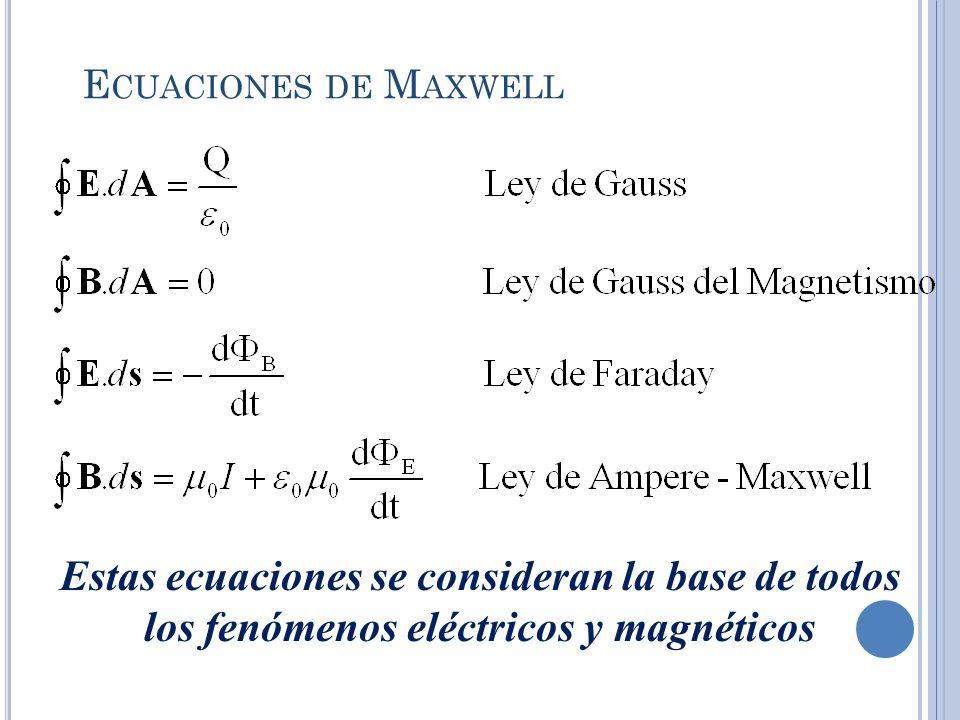 Ecuaciones de Maxwell Estas ecuaciones se consideran la base de todos los fenómenos eléctricos y magnéticos.