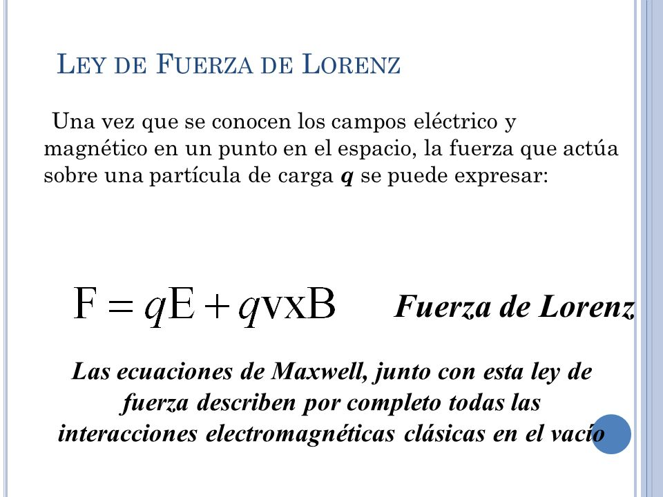 Fuerza de Lorenz Ley de Fuerza de Lorenz
