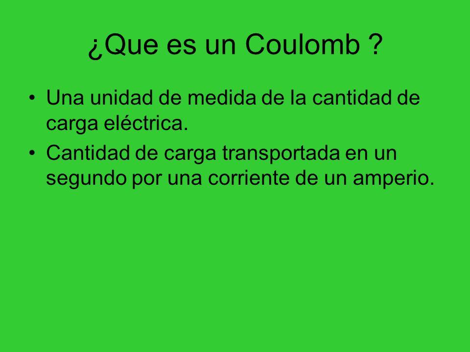 ¿Que es un Coulomb Una unidad de medida de la cantidad de carga eléctrica.