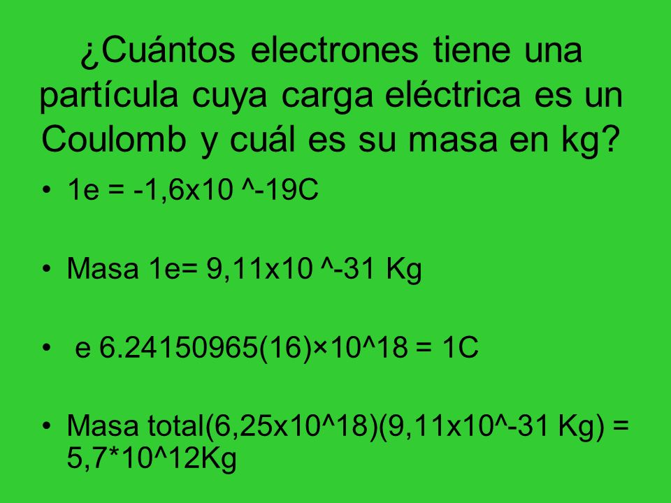 ¿Cuántos electrones tiene una partícula cuya carga eléctrica es un Coulomb y cuál es su masa en kg