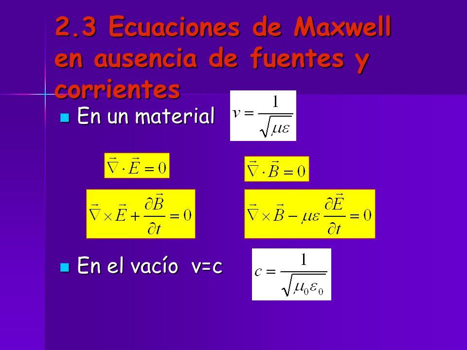 2.3 Ecuaciones de Maxwell en ausencia de fuentes y corrientes
