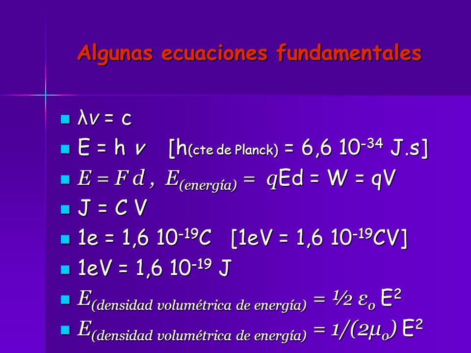 Algunas ecuaciones fundamentales
