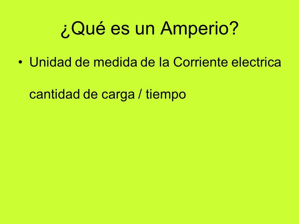 ¿Qué es un Amperio Unidad de medida de la Corriente electrica cantidad de carga / tiempo