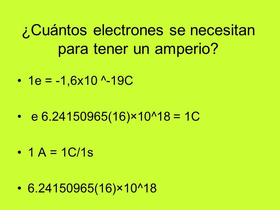 ¿Cuántos electrones se necesitan para tener un amperio